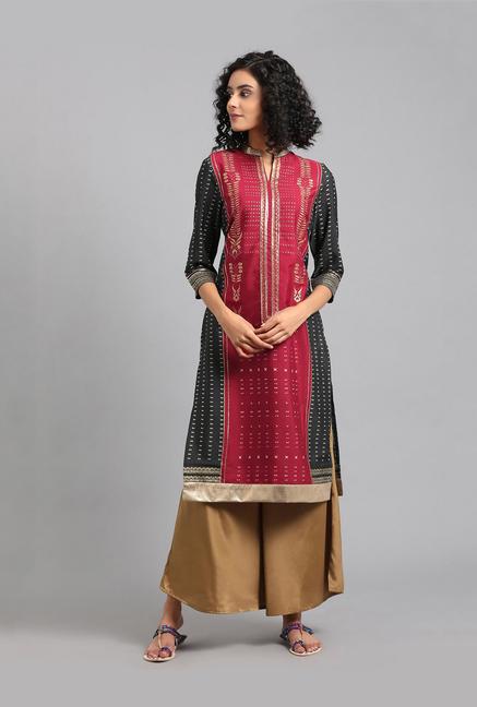 4fc94fa221 Buy W Maroon & Black Printed Kurta for Women Online @ Tata CLiQ