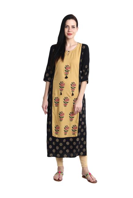 9a2b8b1e4e Buy Aujjessa Black & Beige Floral Print Straight Kurti for Women Online @  Tata CLiQ