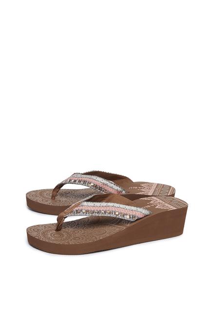 126bc1637e61 Buy LUNA BLU by Westside Brown Sequin Detailed Flip Flops For Women ...