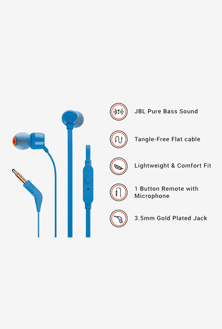 5b2a8cecbc0 Buy JBL T160 Wired Headphones with Mic (Blue) Online At Best Price ...