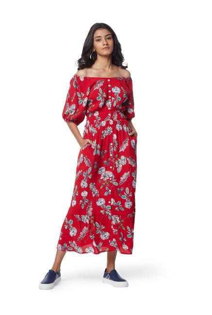 facc04fc7 Buy Nuon by Westside Red Floral Pattern Off-Shoulder Noel Dress for ...