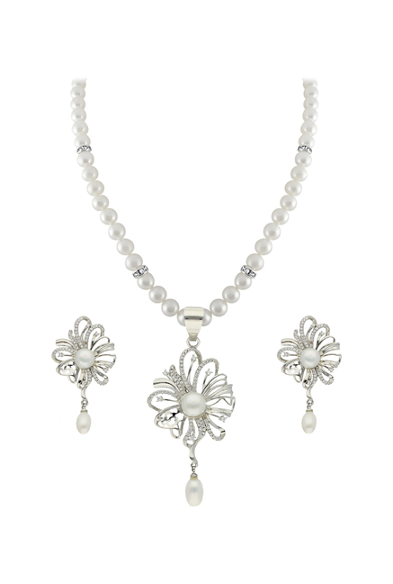 c399620a55dbe Buy Sri Jagdamba Pearls Pearl White & Clear Alloy Necklace Set Online At  Best Price @ Tata CLiQ