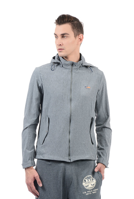 1a73e4cf2fe7a Buy U.S. Polo Assn. Grey Regular Fit Solid Hoodie for Men Online   Tata CLiQ