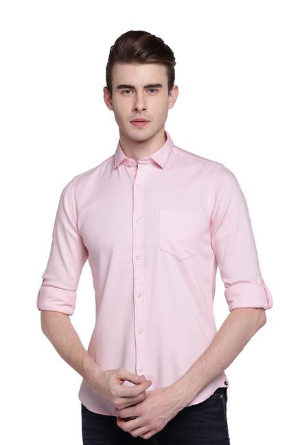 Buy Killer Pink Full Sleeves Slim Fit Shirt for Men Online   Tata CLiQ f68a1513a