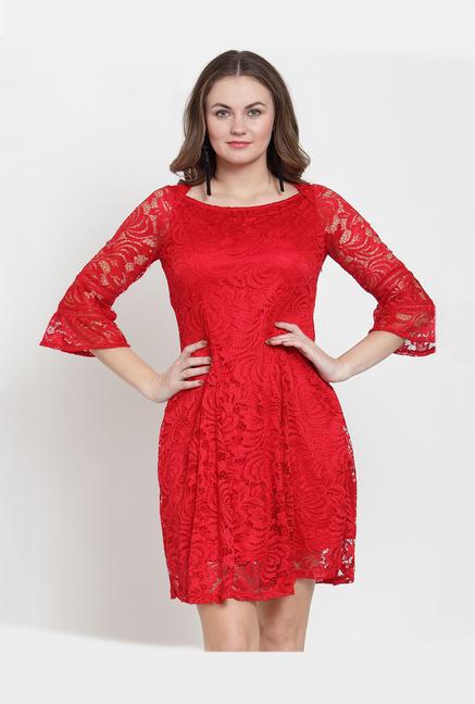 683e0fad9 Buy Latin Quarters Red Lace Mini Dress for Women Online @ Tata CLiQ