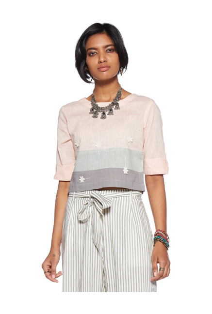 6e37c71b79ac80 Buy Bombay Paisley by Westside Pink Color Block Crop Top for Women Online @  Tata CLiQ