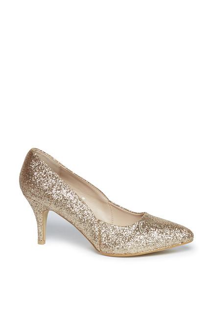 2044003d835c Buy LUNA BLU by Westside Gold Glitter Court Shoes For Women ...