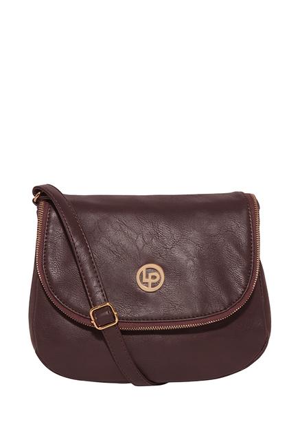 Lino Perros Brown Solid Flap Sling Bag