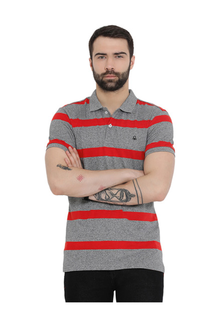 50d6c791f93 Buy United Colors of Benetton Grey   Red Polo T-Shirt for Men Online   Tata  CLiQ