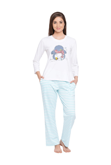 e3f2c0f549b Buy Clovia White   Mint Printed Pyjama Set for Women Online   Tata CLiQ