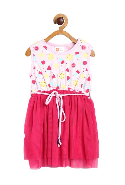 e73fac3e12d3a Buy 612 League Kids Pink Printed Dress for Infant Girls Clothing Online @  Tata CLiQ