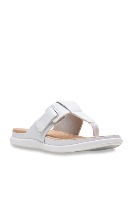 1327aa488a383 Buy Clarks Step June Reef White T-Strap Sandals for Women at Best ...