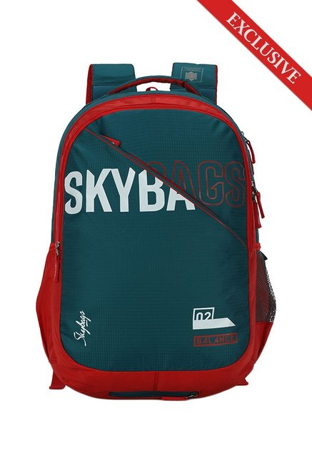 912d06e9335 Buy Skybags Figo Extra Teal Green & Red Solid Nylon Backpack ...