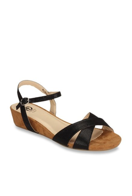 96a5d6bede Buy Pavers England Black Ankle Strap Wedges for Women at Best Price @ Tata  CLiQ