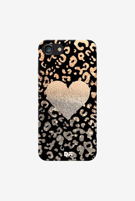 DailyObjects Gold Heart Leo Black Case For IPhone 7