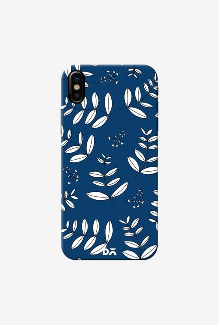 DailyObjects Botanical Leaves Blue Case Cover For iPhone XS