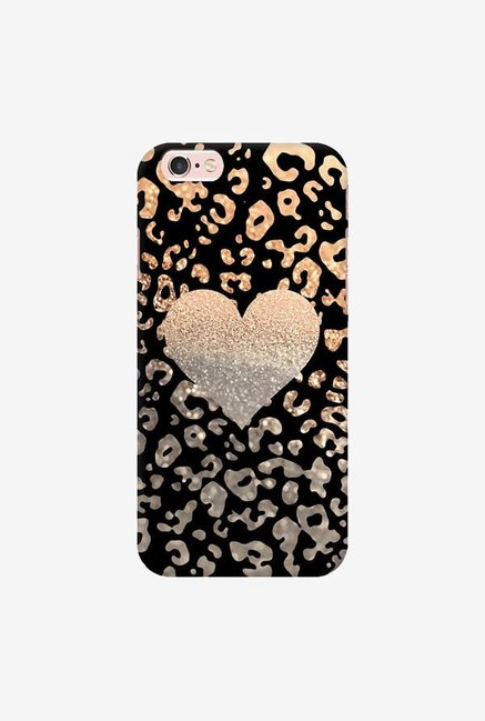DailyObjects Gold Heart Leo Black Case For iPhone 6s