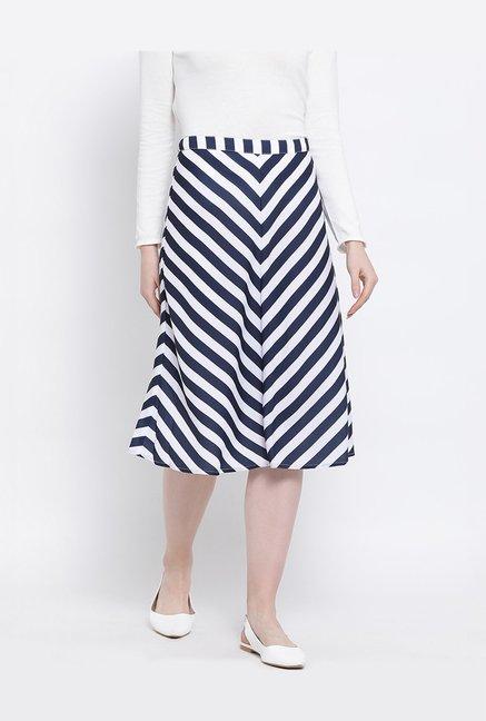 e6165047e7 Buy United Colors of Benetton Navy & White Striped Skirt for Women Online @ Tata  CLiQ