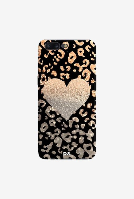 DailyObjects Gold Heart Leo Black Case Cover For OnePlus 5