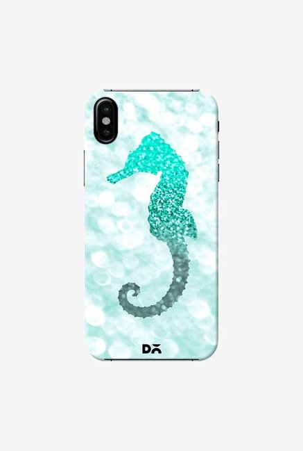 DailyObjects Champagne Seahorse Aqua Case Cover For iPhone XS
