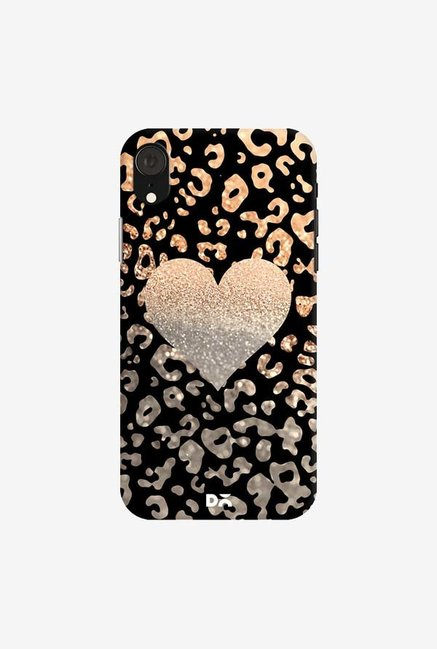 DailyObjects Gold Heart Leo Black Case Cover For iPhone XR
