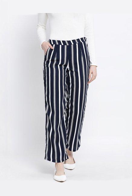 de2e3b194 Buy United Colors of Benetton Navy & White Striped Pants for Women ...