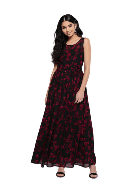 MAXI DRESS BLACK WITH FLORAL PRINT