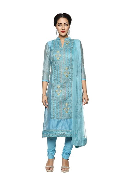 9b5fcc36bd6 Buy Soch Sky Blue Embroidered Dress Material for Women Online ...
