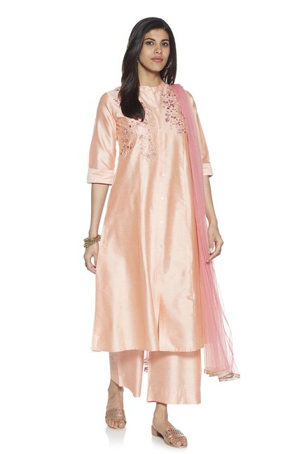 af6ef3a1c7 Buy Vark by Westside Peach Embroidered Kurta And Palazzo Set for Women  Online @ Tata CLiQ