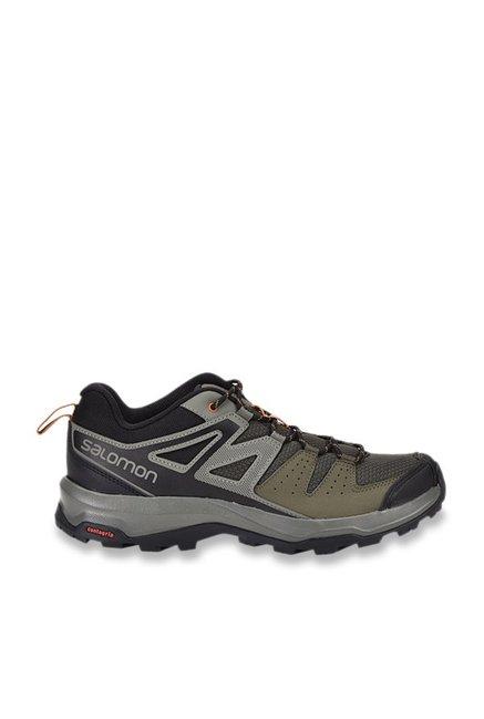 Buy Salomon X Radiant Grey & Olive Hiking Shoes for Men at