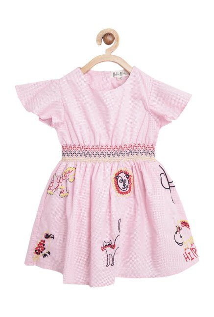 a329ee28a94db Buy Bella Moda Kids Pink Printed Dress for Girls Clothing Online ...
