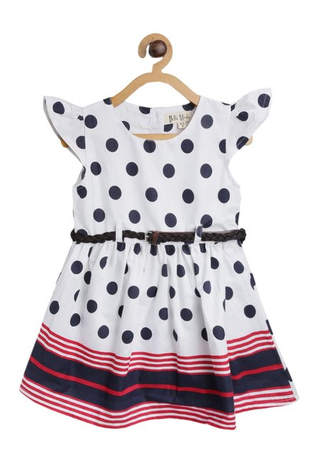 4ac66b8a00 Buy Bella Moda Kids White Printed Dress With Belt for Girls Clothing ...