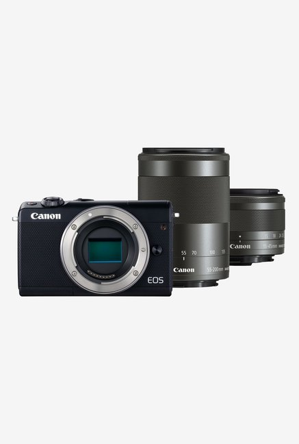 Canon EOS M100  EF M55 200/M15 45mm Lens  DSLR Camera + Memory Card + Camera Bag  Black  Canon Electronics TATA CLIQ