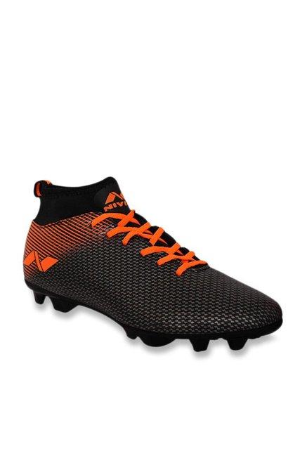 Nivia Pro Carbonite Black   Orange Football Shoes