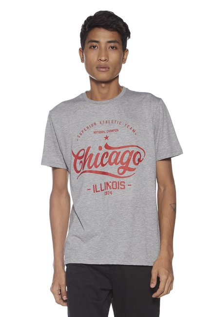 3302cb2b Buy Nuon by Westside Grey Typographic Print Slim Fit T-Shirt for Men Online  @ Tata CLiQ