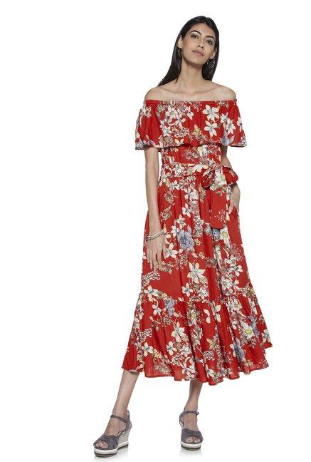 cb6583c61fbb Buy LOV by Westside Red Floral Off-Shoulder Syna Dress With Belt for Women  Online @ Tata CLiQ