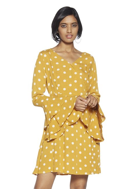 df3db37a3 Buy Nuon by Westside Mustard Dylan Polka Dotted Dress for Women ...