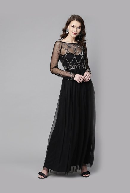 45b3a41459f Buy Street 9 Black Embellished Maxi Dress for Women Online   Tata CLiQ