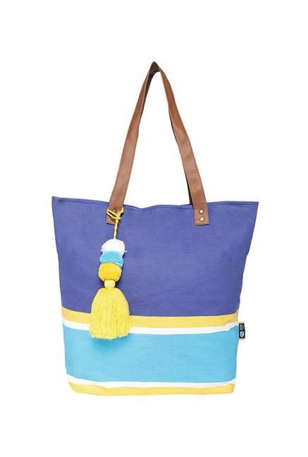 Kanvas Katha Blue   Yellow Tassel Canvas Tote