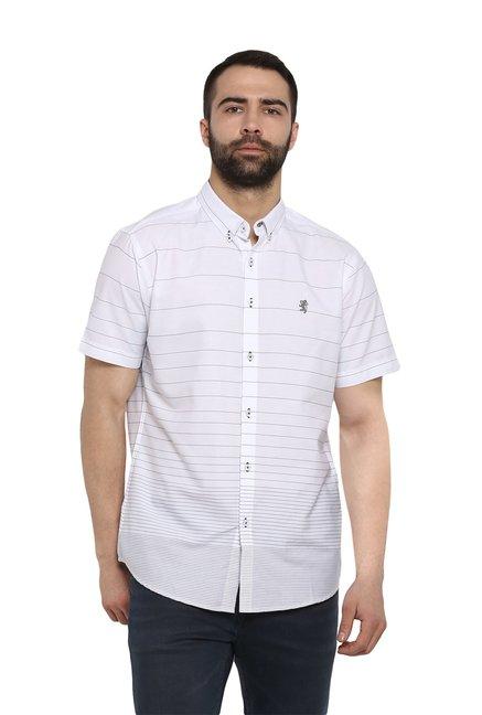 0d5e470418407a Buy Red Tape White Regular Fit Striped Shirt for Men Online @ Tata CLiQ