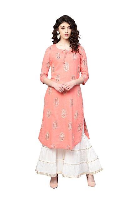 3935fe100d5b Buy Ishin Pink   White Cotton Printed Kurti Sharara Set for Women Online    Tata CLiQ