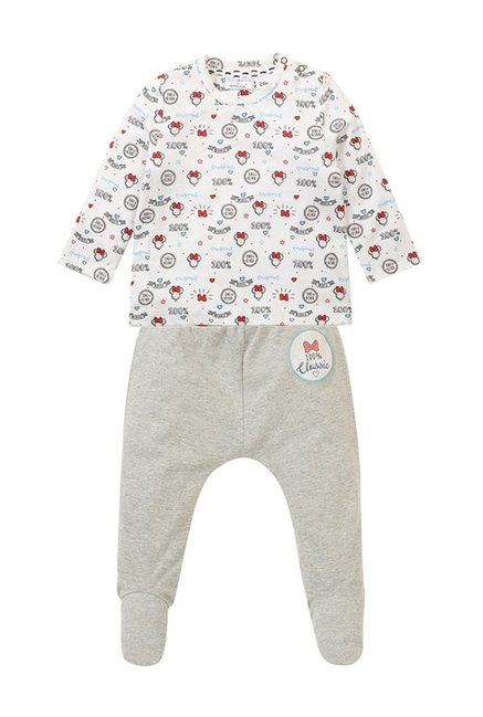 Buy Quancious Kids White Grey Disney Clothing Set For