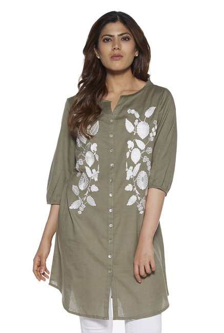 dc44c9e78ff Buy Gia curve by Westside Olive Floral Marcia Tunic for Women Online   Tata  CLiQ
