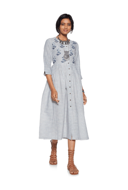 23778cbc8580 Buy Bombay Paisley by Westside Blue Striped Fit-And-Flare Dress for Women  Online @ Tata CLiQ