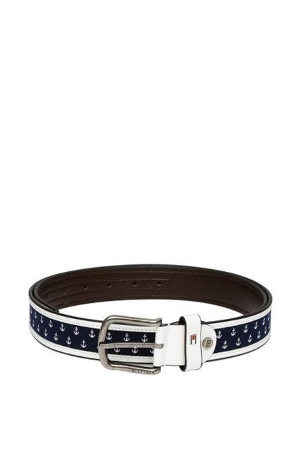 Tommy Hilfiger White   Navy Casual Leather Belt for Men