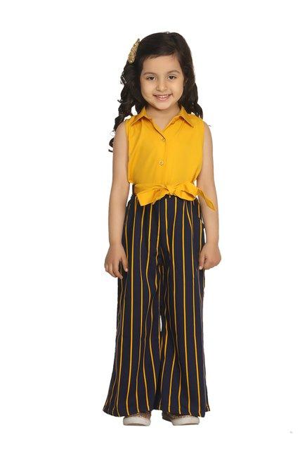 044b7e2e5a Buy LilPicks Kids Mustard & Navy Striped Jumpsuit for Girls Clothing Online  @ Tata CLiQ