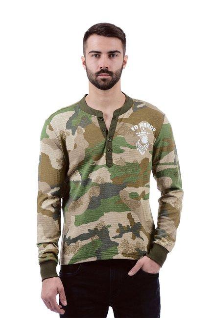 e27473ff033 Buy Ed Hardy Brown   Green Slim Fit Henley T-Shirt for Men Online   Tata  CLiQ