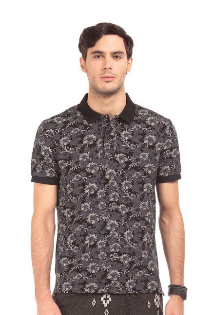 bf2179f8000 Buy Ed Hardy Black Printed Slim Fit Cotton Polo T-Shirt for Men Online    Tata CLiQ