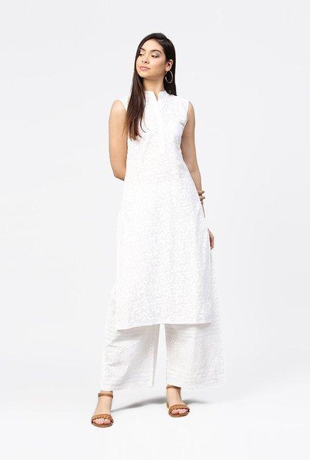 53c1546fc7c Buy Aasi - House of Nayo White Cotton Printed Kurti Palazzo Set for Women  Online   Tata CLiQ