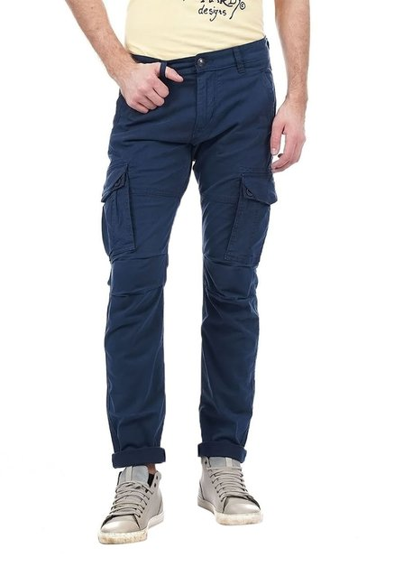 8dc596d43 Buy Ed Hardy Navy Cotton Cargo Pants for Men Online @ Tata CLiQ